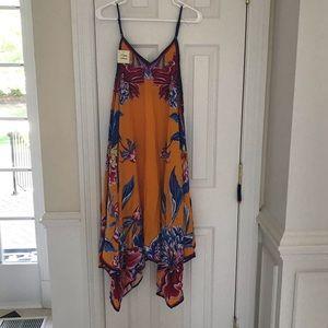 New FLYING TOMATO Orange Blue Print Maxi Dress CS